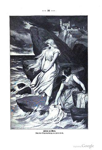Kudrun - Kudrun washes clothes at the seashore. From Die Gartenlaube (1899)