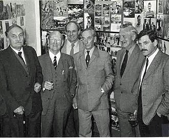 Jack Longland - Longland (centre) with, left to right  G. I Milton, Justin Evans, Dave Alcock, John A. Jackson and John Barry at Plas y Brenin, UK National Mountain Centre, 1985