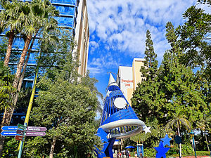 Disneyland Hotel (California) - Disneyland Hotel towers from Downtown Disney. Dreams Tower is at left; Magic Tower at right. The area in foreground was previously the site of the Plaza Building.