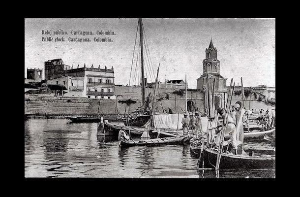 Dock of los Pegasos and Torre del Reloj Público 1910, Cartagena de Indias, Colombia