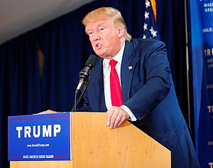 Donald Trump presidential campaign, 2016 - Trump at an early campaign event in New Hampshire on July 16, 2015