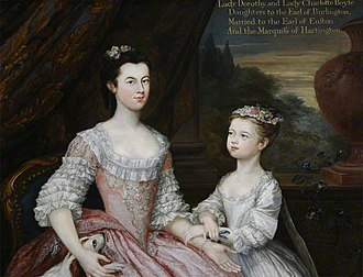 Richard Boyle, 3rd Earl of Burlington - Dorothy Savile, Lady Dorothy Boyle (1724–1742), Countess of Euston, and Her Sister Lady Charlotte Boyle (1731–1754), Later Marchioness of Hartington, National Trust, Hardwick Hall. Supplied by The Public Catalogue Foundation.