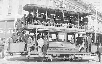 John D. Spreckels - Image: Double decker San Diego Electric Railway, 5th & Market, Sept 21, 1892