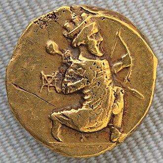 Amyrtaeus - Daric of Artaxerxes II, against whom Amyrtaeus rebelled. Cabinet des Médailles, Paris.
