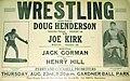Doug Henderson and Joe Kirk on a wrestling poster - Gardner Ball Park - 1934.jpg