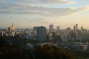 Downtown buildings of Sendai, Japan, at dawn. ...