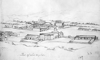 History of Los Angeles - Drawing by William Rich Hutton depicting a section of Los Angeles, ca.1847–49