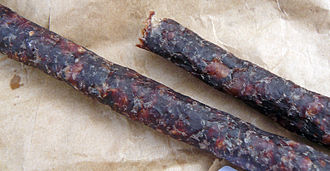 South African cuisine -  A piece of droëwors, a dried sausage