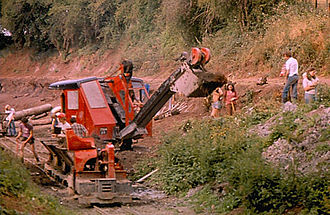 Waterway restoration - Excavation work at Salwarpe on the Droitwich Canal during 1978 Waterway Recovery Group summer work camp.