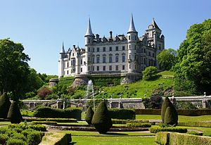 Scottish baronial architecture - Dunrobin Castle is largely the work of architect Sir Charles Barry on a small medieval core and is similar to the ornate conical turrets, foundations and windows of castles of contemporary restorations such as Josselin Castle in Brittany.