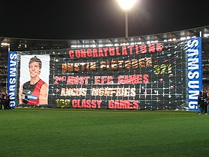Dustin Fletcher - A banner congratulating Fletcher in 2010.