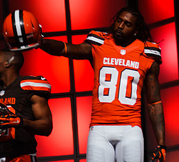 Dwayne Bowe Cleveland Browns New Uniform Unveiling (16534320203).jpg