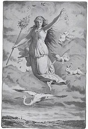 Illustration of Ēostre by Jacques Reich, origi...
