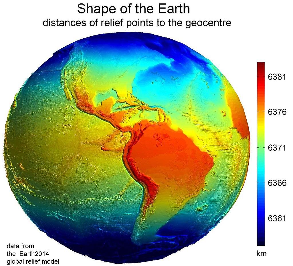 En este modelo de la Tierra se muestra codificado en colores la desviación de la forma de la Tierra a partir de una esfera.  Si la Tierra fuera una esfera, y no lo es, todos los puntos de su superficie estarían a la misma distancia del centro. Fuente: Wikimedia.
