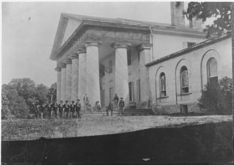 Arlington House, The Robert E. Lee Memorial - East front of Arlington House with Union Army Soldiers on lawn (1864).