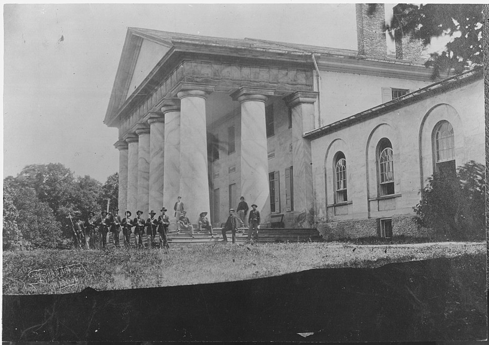 East front of Arlington Mansion (General Lee%27s home), with Union soldiers on the lawn, 06-28-1864 - NARA - 533118