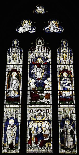 Lord Edward Cavendish - Window erected in St Peter's Church, Edensor in his memory. Window by Burlison and Grylls dating from 1892.