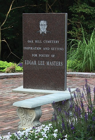 Oak Hill Cemetery (Lewistown, Illinois) - Edgar Lee Masters memorial at the south entrance to Oak Hill Cemetery