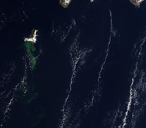 2011–12 El Hierro eruption - Satellite image taken on 23 October 2011, showing the volcanic material in the sea