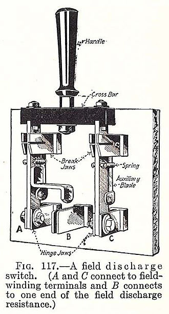 Knife switch - 1917 motor switch, with extra contacts