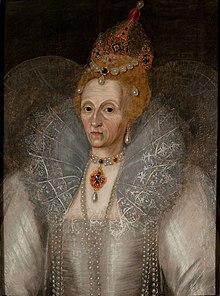 Portrait d'Élisabeth Ire âgée dont le visage présente de profondes rides.