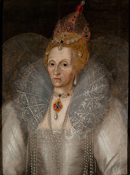 Portrait of Elizabeth I attributed to Marcus Gheeraerts the Younger or his studio, c. 1595. Elizabeth I portrait, Marcus Gheeraerts the Younger c.1595.jpg