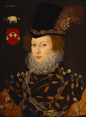Elizabeth Knollys - Portrait of Elizabeth Knollys by an unknown painter after George Gower, 1577