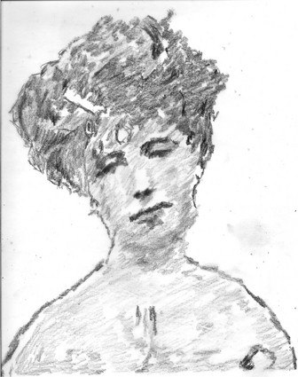 Pencil sketch of Elizabeth von Arnim