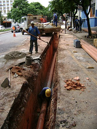Pipe (fluid conveyance) - Pipe installation on a street in Belo Horizonte, Brazil