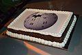 English Wikipedia 14th Anniversary Cake - Bengali Wikipedia 10th Anniversary Celebration - Jadavpur University - Kolkata 2015-01-10 3546.JPG