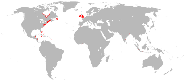 All English overseas possessions in 1700, shortly before the Acts of Union of 1707 English overseas possessions in 1700.png