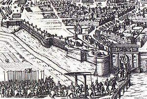 Philipsdaalder (Escudo) de 1557. Felipe II. Amberes 300px-Entrada_a_amberes