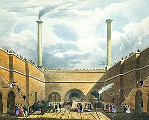 Edge Hill railway station - Bury's watercolour of the tunnel portals