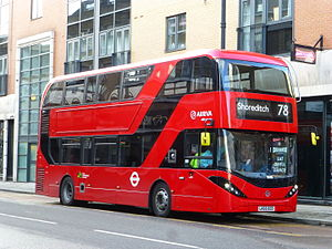 Alexander Dennis Enviro400 - Arriva London Enviro400H City on route 78 in Shoreditch in December 2015