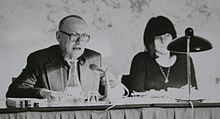 Ernst Jandl and Friederike Mayröcker, public reading, 1974-11, Vienna, Austria.jpg