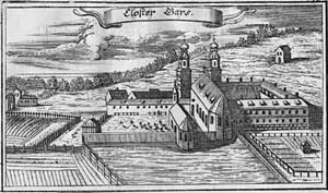 "Gars Abbey - Copper engraving of the Monastery by Johann Ulrich Kraus from the ""Churbaierischen Atlas"" of Anton Wilhelm Ertl, 1687"