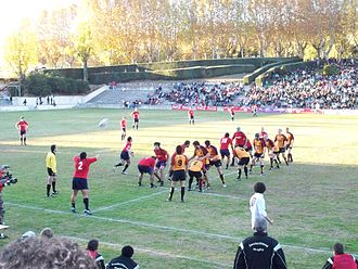 Estadio Nacional Complutense - A line out between Spain and Germany