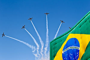 "Smoke Squadron - ""Esquadrilha da Fumaça"" during 2011 Brazilian Independence Day celebrations"