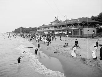 Euclid Beach Park - Euclid Beach and the bath house, circa 1905