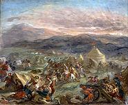 Eugène Delacroix - Botzaris Surprises the Turkish Camp and Falls Fatally Wounded - Google Art Project