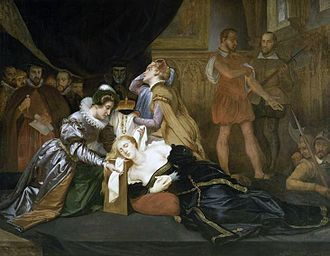 Jane Kennedy (courtier) - Jane Kennedy blindfolding Mary, Queen of Scots, 19th-century painting by Abel de Pujol, (Valenciennes, musée des Beaux-Arts)