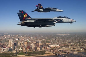 F-14B and FA-18EF VF-VFA-11 over St Louis - 2005.jpg