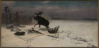 Walka łosia z wilkami