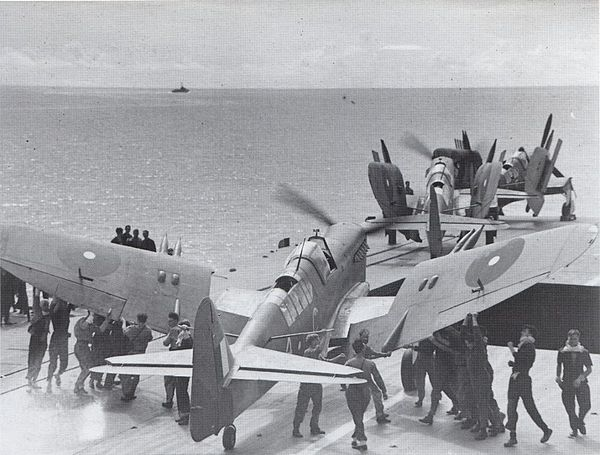 Fireflies returning to HMS Indefatigable following Operation Lentil airstrikes. Fairey Fireflies on HMS Indefatigable 4 January 1945.jpg