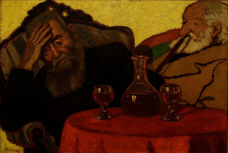 """> Peinture """"Mon père et Piacsek, avec du vin rouge"""" de József Rippl-Rónai."""