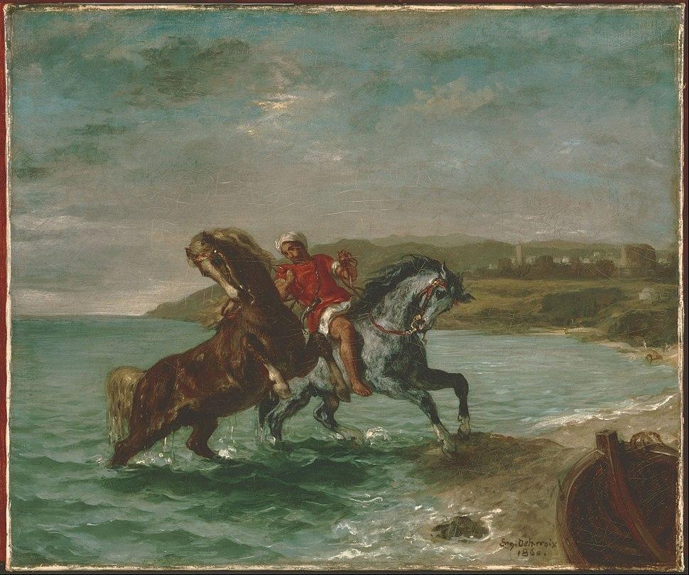 Ferdinand-Victor-Eugène Delacroix - Horses Coming Out of the Sea - Google Art Project
