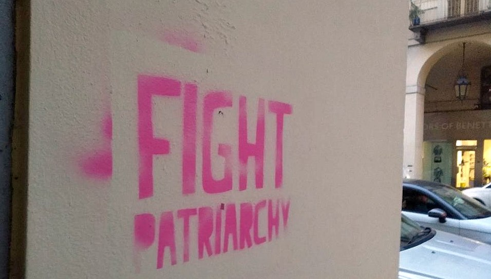 Fight Patriarchy graffiti in Turin