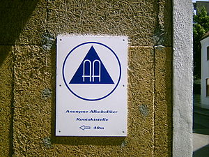 Alcoholics Anonymous - AA meeting sign (German)