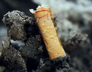 English: A cigarette butt, lying in dirty snow.