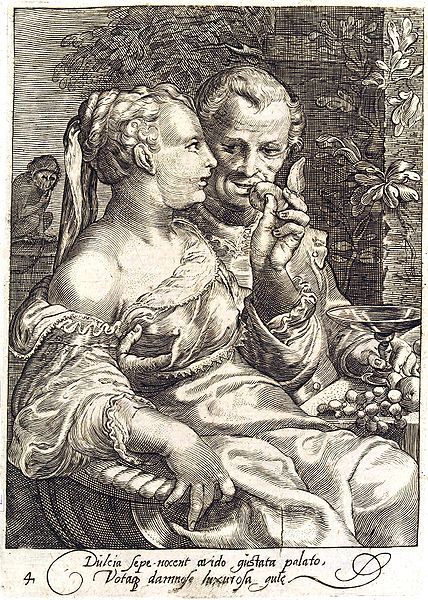 """Taste"" - Fourth of a set of 5 engravings depicting the Senses. Jan Saenredam (1565–1607."